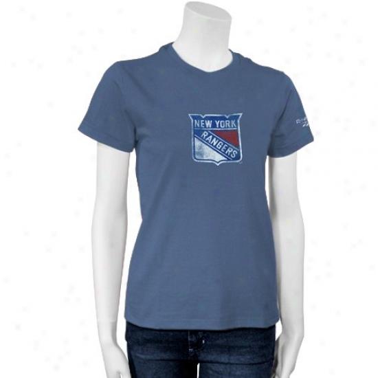 New York Rangers T-shirt : Reebok New York Rangers Ladies Light Blue Better Logo T-shirt