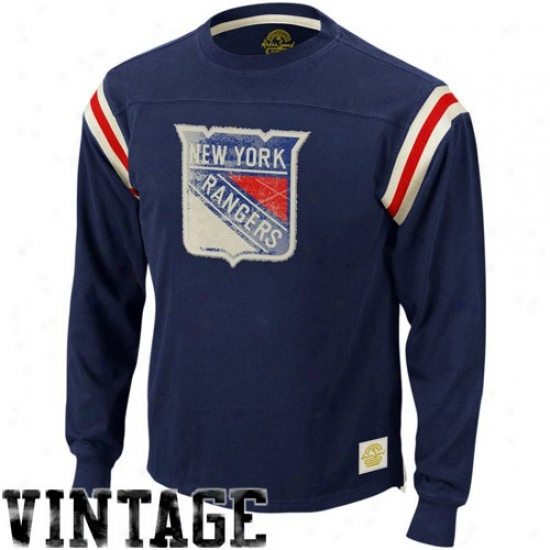 New York Rangers T-shirt : Reebok New York Rangers Navy Blue Whitewashed Logo Applique Long Sleeve T-shirt