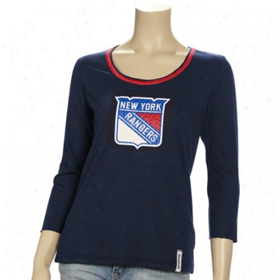 New York Rangers Tee : Reebok New York Rangers Ladies Navy Pedantic  Spring violently Up Rhinestone 3/4 Sleeve Premium Tee