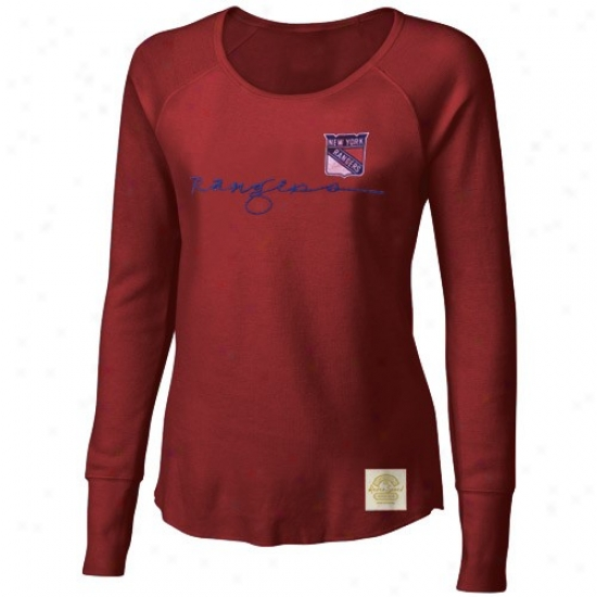 New York Rangers Tee : Reebok New York Rangers Ladies Red Yarn Script Waffle Stitch Long Sleeve Vintage Top