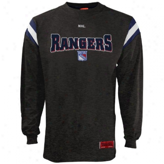 New York Rangers Tees : Majestic New York Rangers Charcoal Relentless Attack Protracted Sleeve Tees