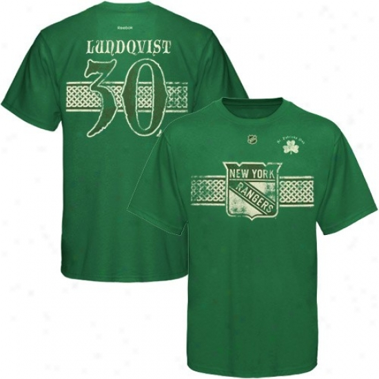 New York Rangers Tees : Reebok New York Rangers #30 Henrik Lundqvist Kelly Flourishing St. Patrick's Day Playrr Tees