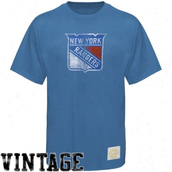 New York Rangers Tees : Reebok New York Rangers Light Blue Better Logo Vintage Premium Fitted Tees