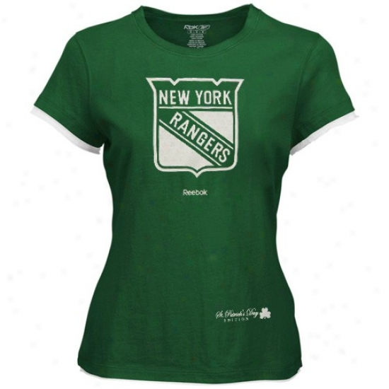 New York Rangers Tees : Reebok New York Rangers Ladies Kelly Green Sg. Patrick's Day Tees