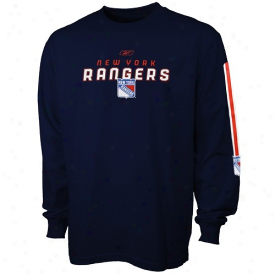 New York Rangers Tees : Reebok New York Rangers Navy Blue Sharp Edge A ~ time Sleeve Tees