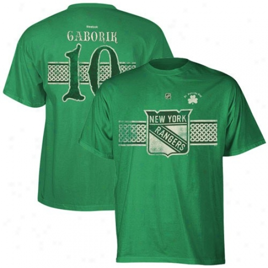 New York Rangers Tees : Reebok Starting a~ York Rajgers #10 Marian Gaborik Kelly Green St. Patrick's Day Celtic Player Tees