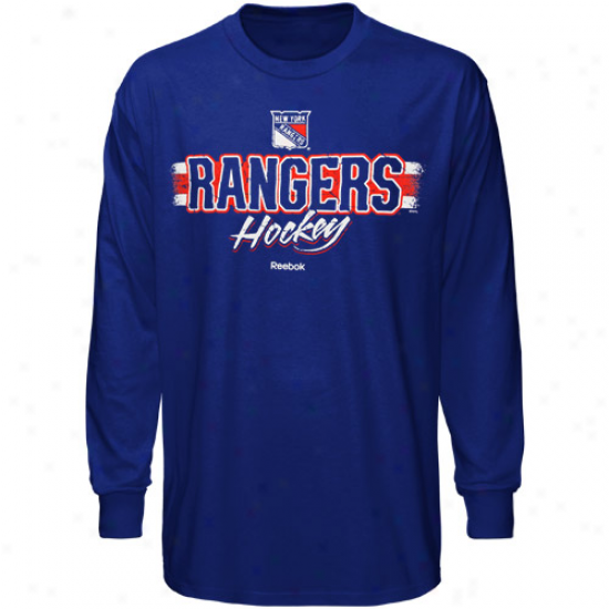 New York Rangerss Tees : Reebok New York Rangers Royal Blue Allegiance Long Sleeve Tees