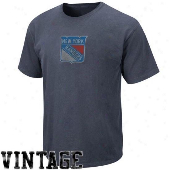 New York Rangers Tshirts : Majestic New York Rangers Navy Blue Cooperstown Big Occasion Play Vintage Tshirts