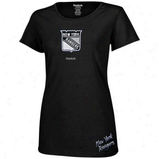 New York Rangers Tshirts : Reebok New York Rangers Ladies Black Garment Washed Baby Doll Tshirts