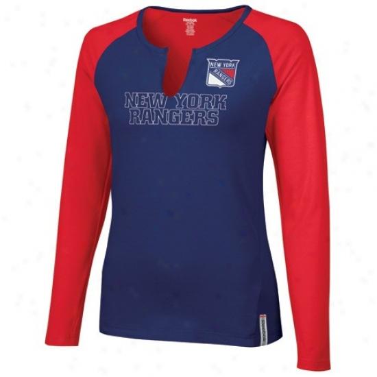 New York Rangers Tshirts : Reebok New York Rangers Navy Blue-red High Ptch Long Sleeve Premium Tshirts
