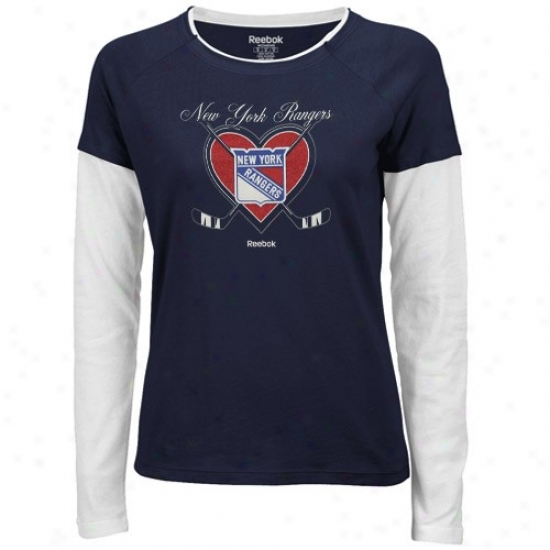 New York Rangers Tshirts : Reebok New York Rangers Navy Blue-white Cross My Heart Double Layer Long Sleeve Tissue Tshirts