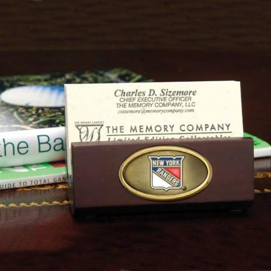 New York Rangers Wooden Business Card Holder