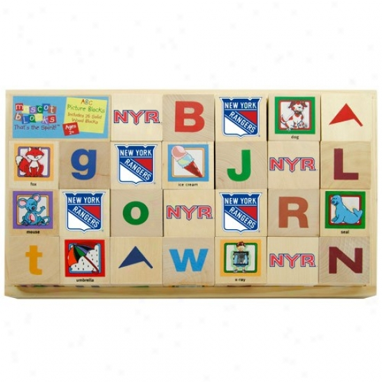 New York Rangers Wooden Hockey Alphabet Blocks