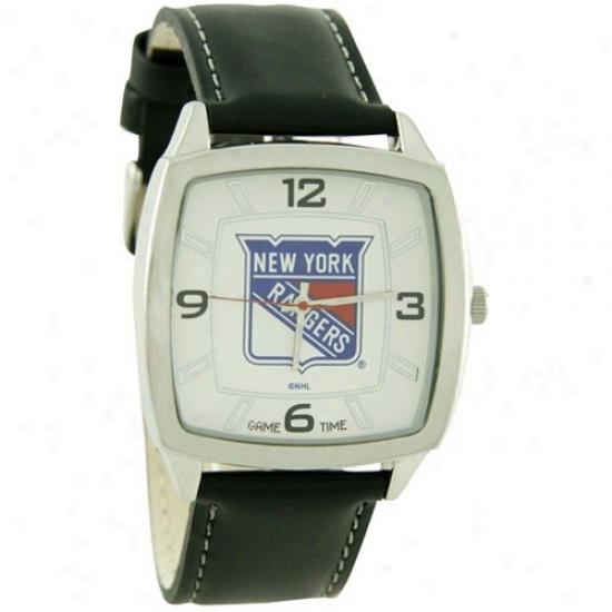 New York Rangers Wrist Watch : New York Rangers Retro Wrist Watch W/ Leather Band