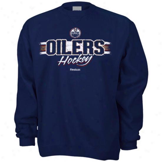 Oilers Hoody : Reebok Oilers Navy Blue Allegiance Hoody