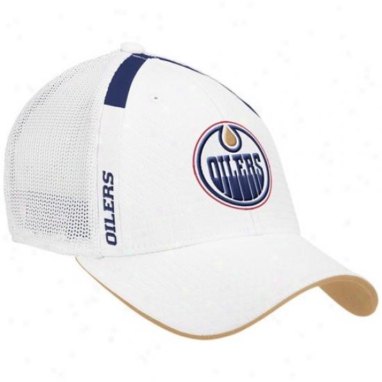Oilers Merchandise: Reebok Oilers White  Nhl Draft Day Flex Fit Hat