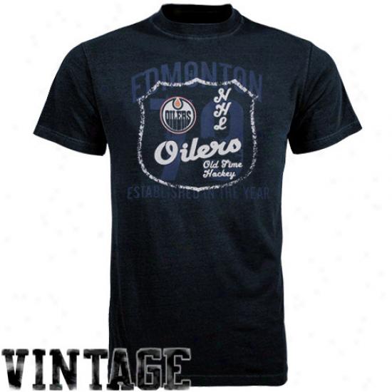 Oldd Time Hockey Edmonton Oilers Navy Blue Captain T-shirt