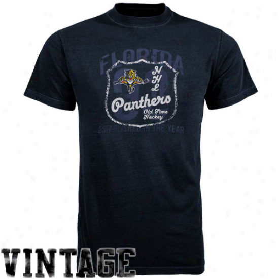 Old Time Hockey Florira Panthers Navy Blue Captain T-shirt
