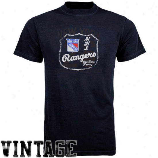 Old Time Hockey New York Rangers Navy Blue Captain T-shirt