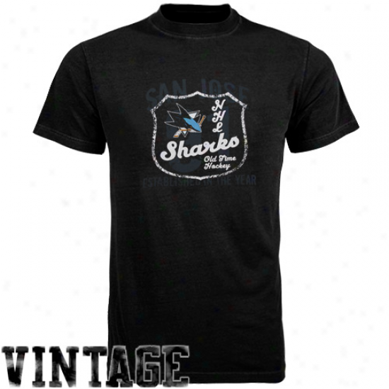 Old Time Hockey San Jose Shakrs Black Captain T-shirt