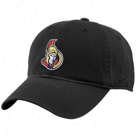 Ottawa Senator Cap : Reebok Ottawa Senator Black Unstructured Slouch Cap