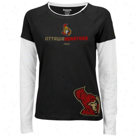 Ottawa Senator T Shirt : Reebok Ottawa Senator Ladies Black Bridgette Long Sleeve Tissue T Shirt