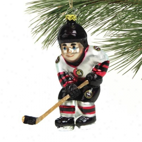 Ottawa Senators 4-inch Blown Glass Hockeg Player Ornament