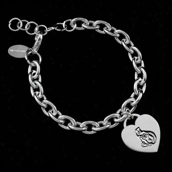 Ottawa Senators Ladies Silver Heart Charm Bracelet