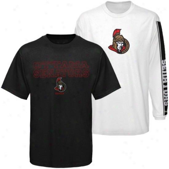Ottawa Senators T-shirt : Reebok Ottawa Senators Black-white 3-in-1 T-shirt Combo Pack