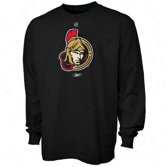 Ottawa Senators T-shirt : Reebok Ottawa Senators Black Prime Logo Long Sleeve T-shirt