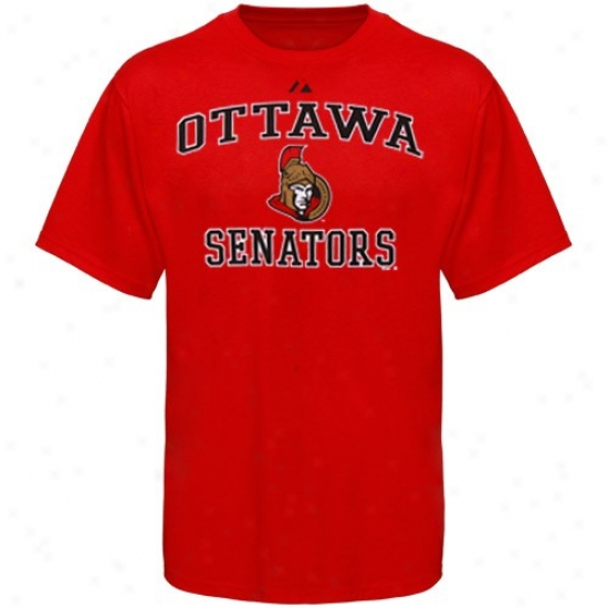 Ottawa Senators Tshirt : Majestic Ottawa Senators Youth Red Heart & Soul Ii Tshirt