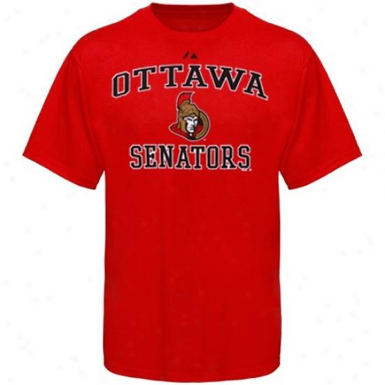 Ottawa Senators Tshirt : Majestic Ottawa Senators Youth Red Heart & Soul Ii Tshirt