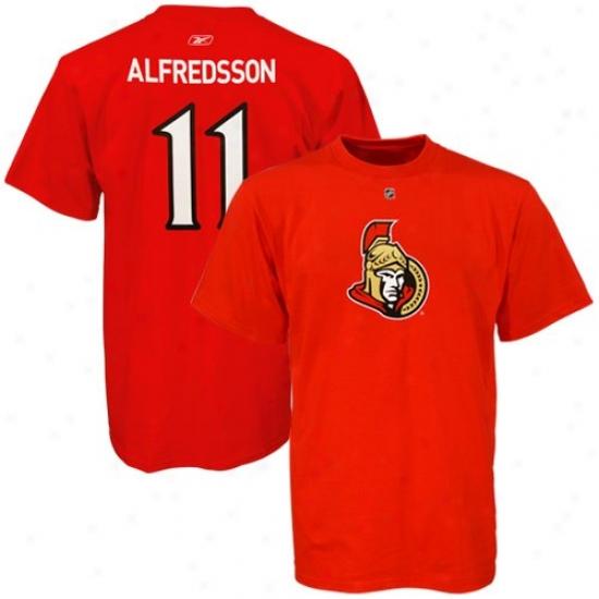Ottawa Senators Tshirts : Reebok Ottawa Senators #11 Daniel Alfredsson Red Net Plzyer Tshirts