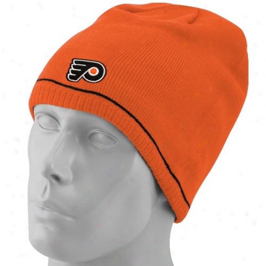 Philadelphia Flyer Cap : Reebok Philadelphia Flter Orange-black Reversible Authoritative Team Beanie