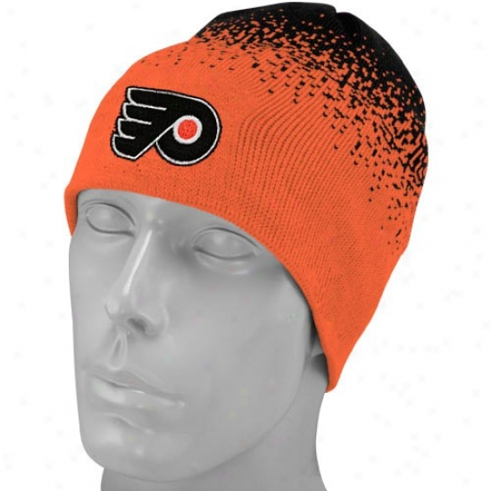 Philadelphia Flyer Caps : Reebok Philadelphia Flyer Orange-black Gradiated Knit Beanie