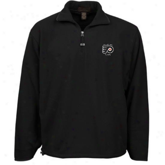 Philadelphia Flyer Hoody : Antigua Philadelphia Flyer Black Glacier 1/4 Zip Hoody Pullover