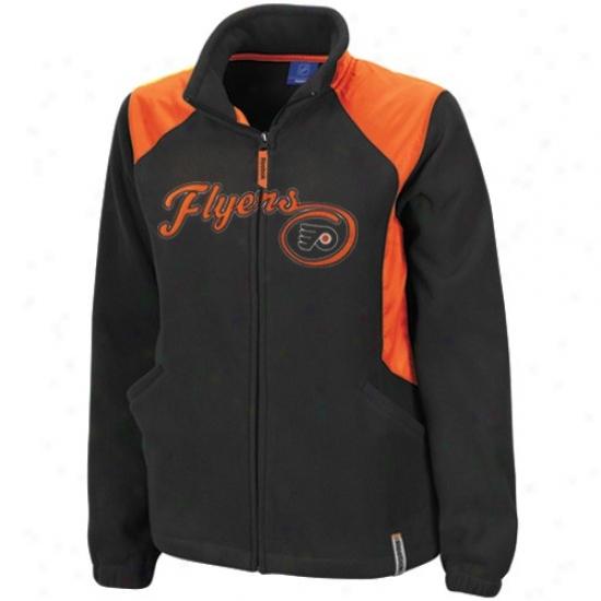 Philadelphia Flyer Jacket : Reebok Philadelphiq Flyer Ladies Black Rhythm Microfleece Full Zip Jacket