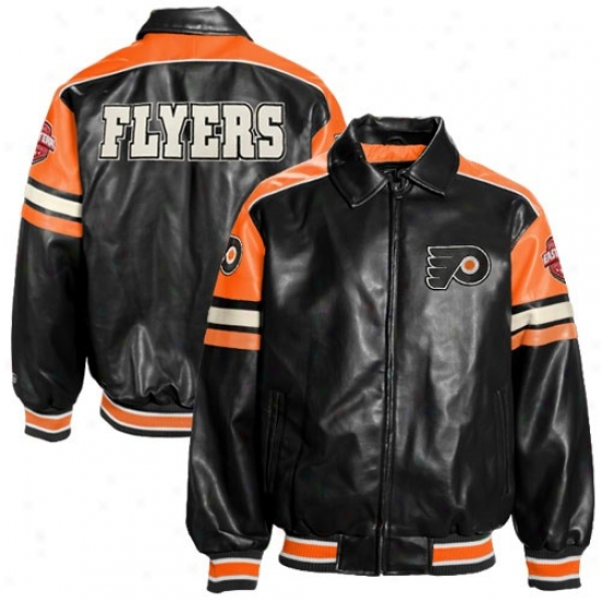 Philadelphia Flyer Jackets : Philadelphia Flyer Black Pleather Varsity Full Zip Jsckets