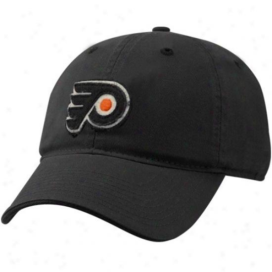 Philadelphia Flyer Merchandise: Reebok Philadelphia Flyer Black Garment Washed Distressed Logo Adjustable Soouch Hqt