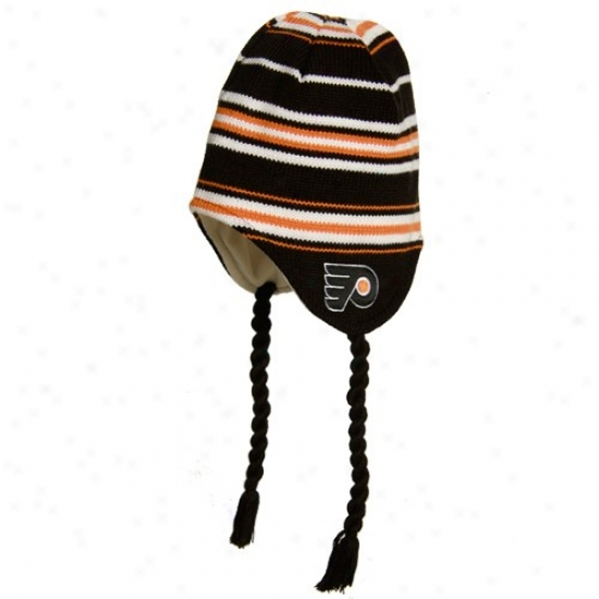 Philadelphia Flyer Merchandise: Reebok Philadelphia Flyer Black Tassle Knit Hat