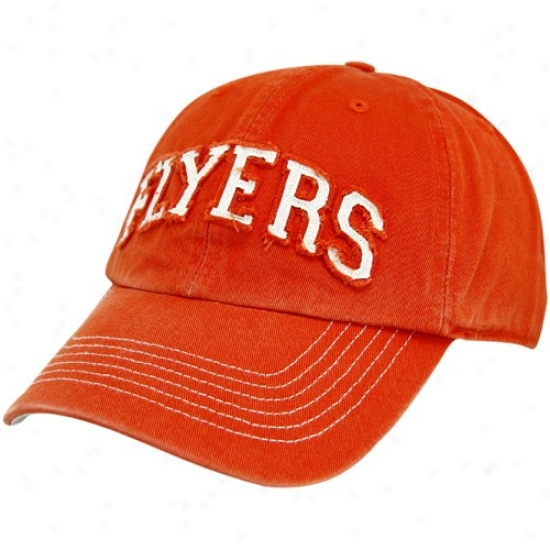 Philadelphia Flyer Merchandise: Twins '47 Philadelphia Flyer Orange Clean Up Adjustable Hat