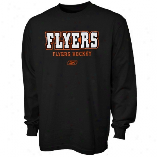 Philadelphia Flyer Shirt : Reebok Philadelphia Flyer Black Wordplay Long Sleeve Shirt