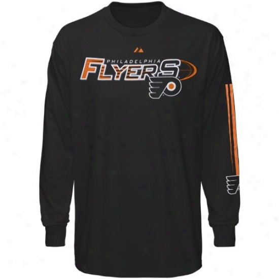 Philadelphia Flyer Shirts : Majestic Philadelphia Flyer Black Extreme Long Sleeve Shirts