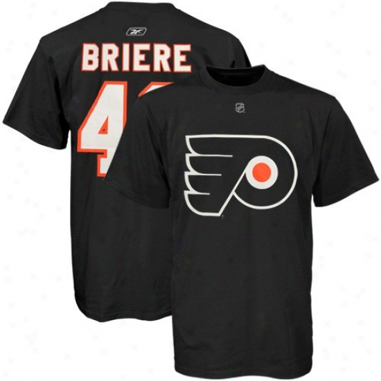 Philadelphia Flyer Shirts : Reebok Philadelphia Flyer #48 Daniel Briere Black Net Player Shirts