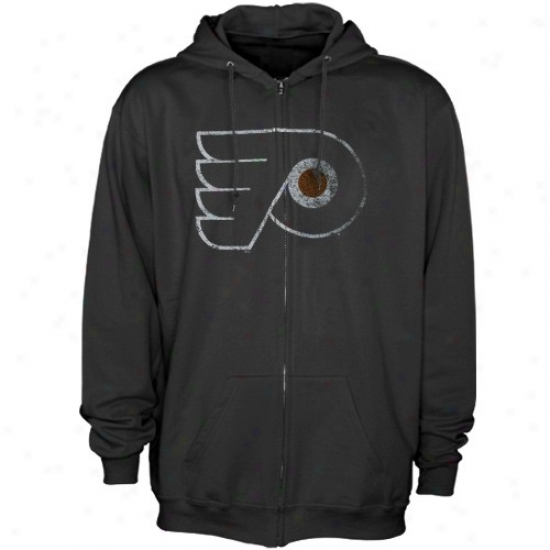 Philadelphia Flyer Stiff: Majestic Philadelphia Flyer Black Official Logo Full Zip Hoody Sweatshirt