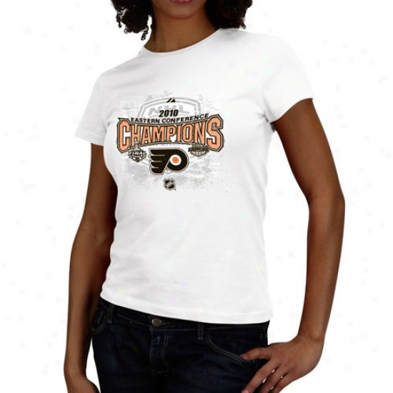 Philadekphia Flyer T Shirt : Majestic Philadelphia Flyer 2010 Nhl Eastern Conference Champions Ladies White Full Glory Official Lkcker Room T Shirt