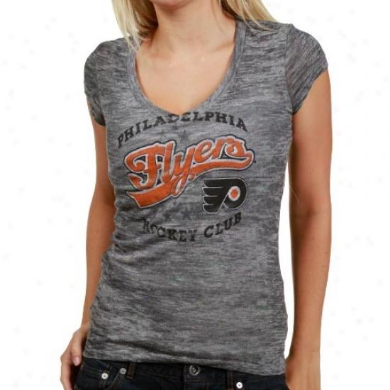 Philadelphia Flyer T-shirt : Majestic Philadelphia Flyer Ladies Gray Appeal Game Tri-blend Slub V-neck T-shirt