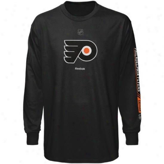 Philadelphia Flyer T Shirt : Reebok Philadelphia Flyer Youth Black Line Change Long Sleeve T Shirt