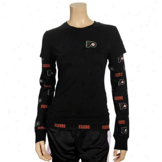 Philadelphia Flyer Tshirt : Philadelphia Flyer Ladies Black T2 Double Layer Long Sleeve Tshirt