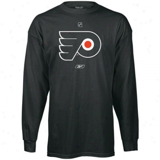 Philadelphia Flyer Tshirt : Reebook Philadelphia Flyer Black Primary Logo Long Sleeve Tshirt